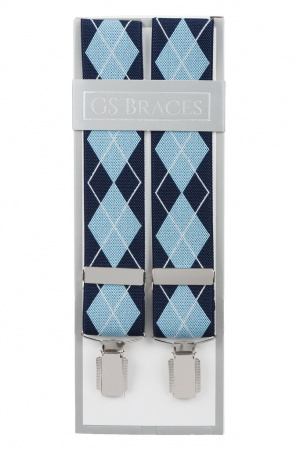 Blue and Light Blue Argyle Diamond Trouser Braces